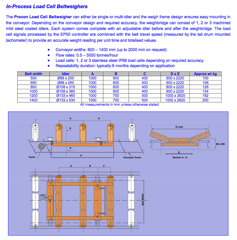 In Process Load Cell Beltweighers